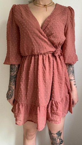 Robe péplum vieux rose