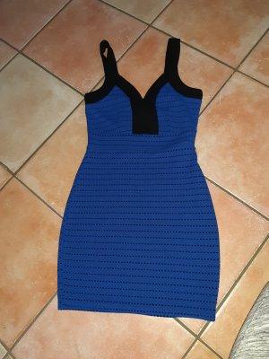 Amisu Sukienka tuba czarny-niebieski