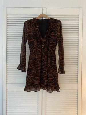 devided Longsleeve Dress black-brown