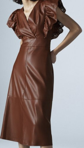 Zara Vestido de cuero rojo amarronado