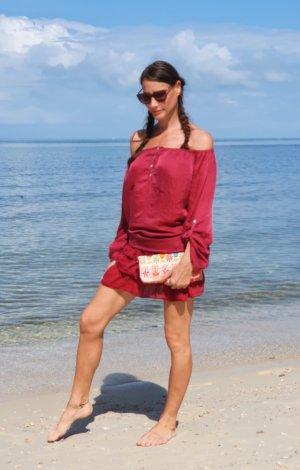 Kleid aus seide schulterfrei Rüschen Ibiza Hippie Boho Bohemian