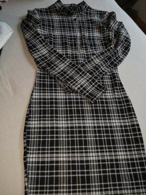 Amisu Sukienka z długim rękawem biały-czarny