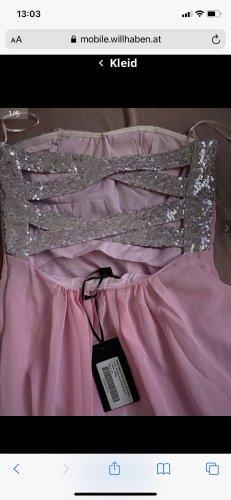 Sukienka z dekoltem typu bandeau różowy