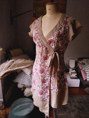 Kleid, Babydoll, Lange Bluse, Schleifenkleid, erdfarben, NEU, 38