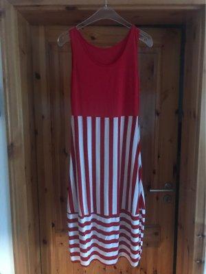 Sukienka o kroju koszulki biały-czerwony