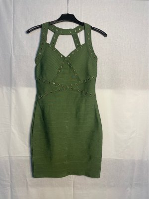 Miss Moda Sukienka z dekoltem typu bandeau oliwkowy