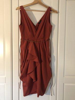 H&M Sukienka z rękawem balonowym głęboka czerwień-rudy