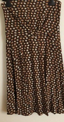 Mango Vestido bandeau blanco-marrón