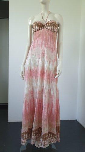 Vestido strapless beige-rosa