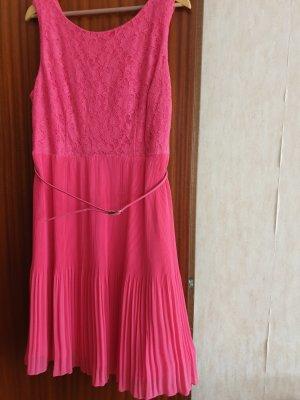100% Fashion Sukienka midi różowy neonowy