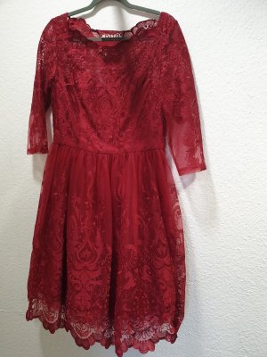 Chi Chi London Lace Dress dark red
