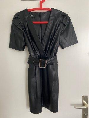 Bershka Skórzana sukienka czarny