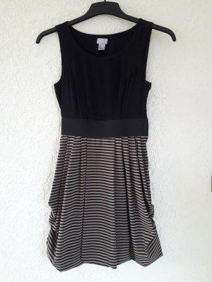 H&M Sukienka z rękawem balonowym czarny-jasnobrązowy