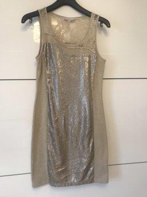 Kleid beige mit Pailletten
