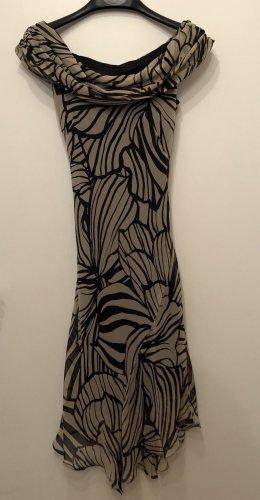 Kleid beige schwarz, florales Muster ohne Ärmel, besonderer Kragen