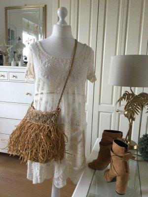 Zara Woman Sukienka boho jasnobeżowy