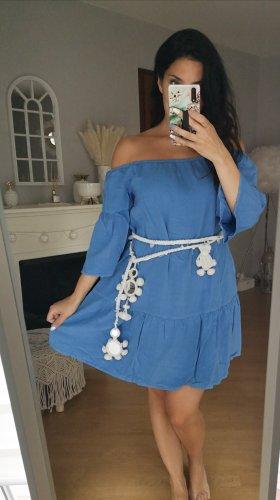 Kleid blau blogger hipster boho Volants off shoulder shoulder