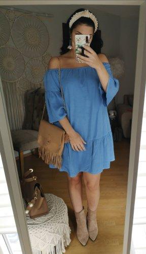 Asos Off the shoulder jurk neon blauw-blauw