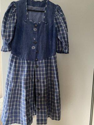 Kleid blau L 40 Trachtenkleid Leine Midikleid