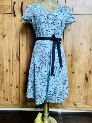 Kleid blau mit Blumen Muster , Größe 38