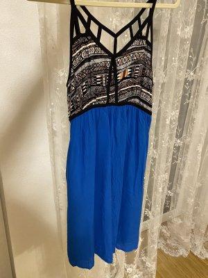 Kleid blau mit Muster S 36