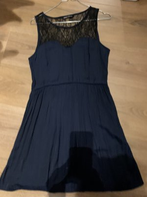 Kleid blau schwarz S 36 Only Spitze Gummizug