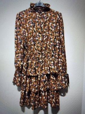 Flounce Dress cognac-coloured