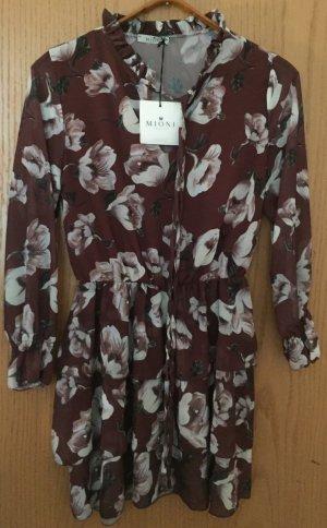 Kleid-Blumen Motiv-braun-weiß-schwarz/v. Mioni-Neu/Etikett Gr. ca. 38