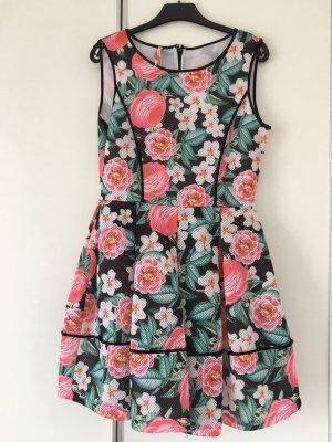 Kleid Blumen pink schwarz grün Gr. 38 / M neu, ausgestellt, Kurzarm