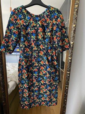 Kleid Blumen schwarz grün orange M Etuikleid Maiocci