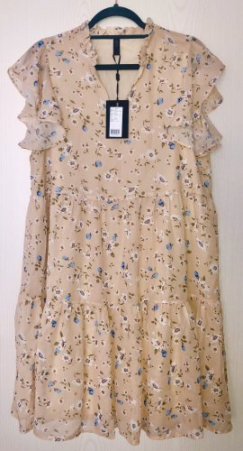 Kleid Blumenkleid / Blumen in beige / hellblau Gr. M Neu