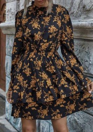 0039 Italy Sukienka z falbanami czarny-nude