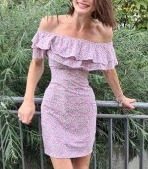 Kleid Blumenprint Volants ruffle Schulterfrei Sommerkleid