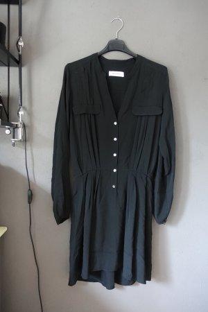 Kleid, Blusenkleid, Mauro Grifoni, schwarz, mit Seide, Hemdblusenkleid