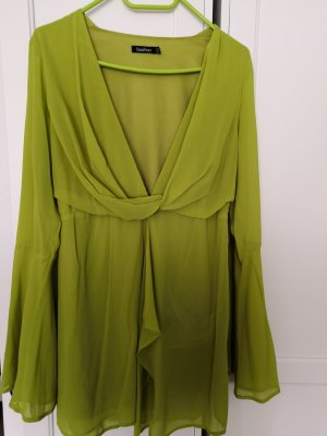 Boohoo Chiffon Dress lime yellow