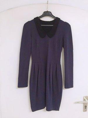 Robe en laine bleu foncé-noir