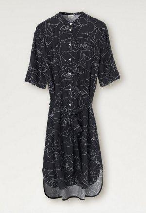 by Malene Birger Abito blusa camicia nero-bianco Cupro