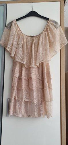 Mango Suit Vestido estilo flounce crema-rosa