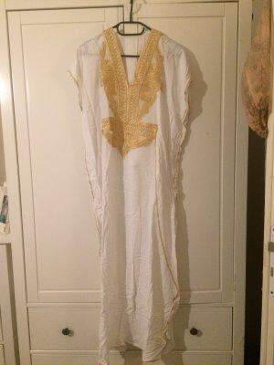 Vestido tipo túnica blanco-color oro