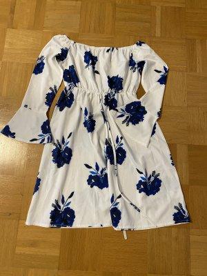 SheIn Off-The-Shoulder Dress white-dark blue