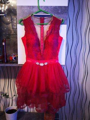 100% Fashion Robe de cocktail rouge foncé
