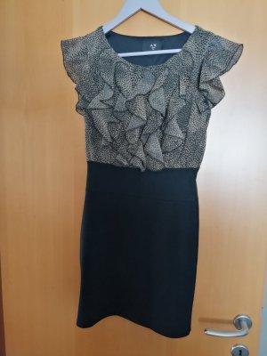 AX Paris Robe à manches courtes noir-brun