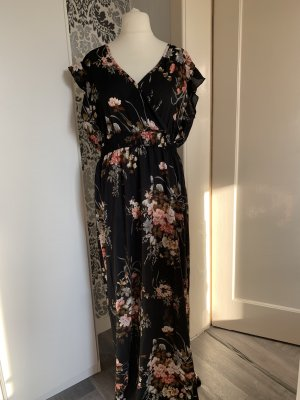 Kleid ca Gr 48 maxi mit Blüten schwarz
