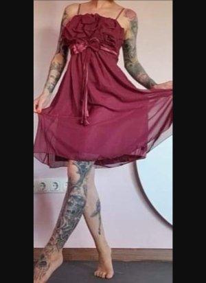 kleid Chiffon bezaubernd XS 34 weinrot elegant Hängerchen