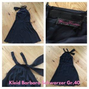 Barbara Schwarzer Vestido de cuello Halter negro tejido mezclado