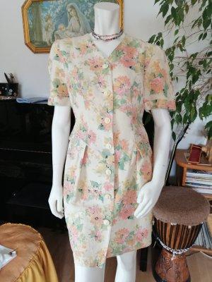 Robe péplum beige clair-rose clair