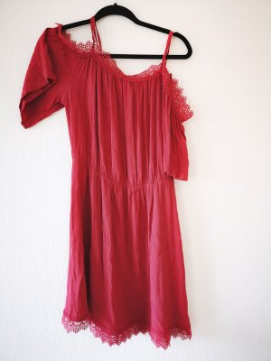 Laura Torelli Vestido tipo overol rojo oscuro-carmín