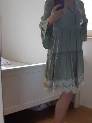 BSB Jeans Volante jurk grijs-groen