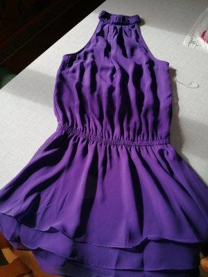 Vestido de cuello Halter violeta oscuro