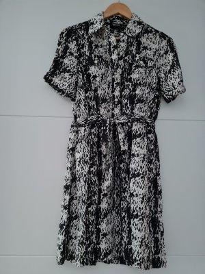 DKNY Vestido tipo blusón blanco-negro Seda